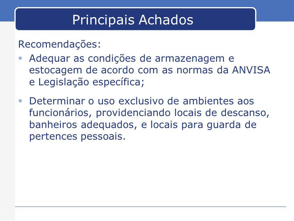 Principais Achados Recomendações: