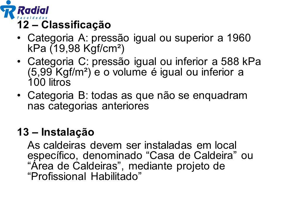 12 – Classificação Categoria A: pressão igual ou superior a 1960 kPa (19,98 Kgf/cm²)