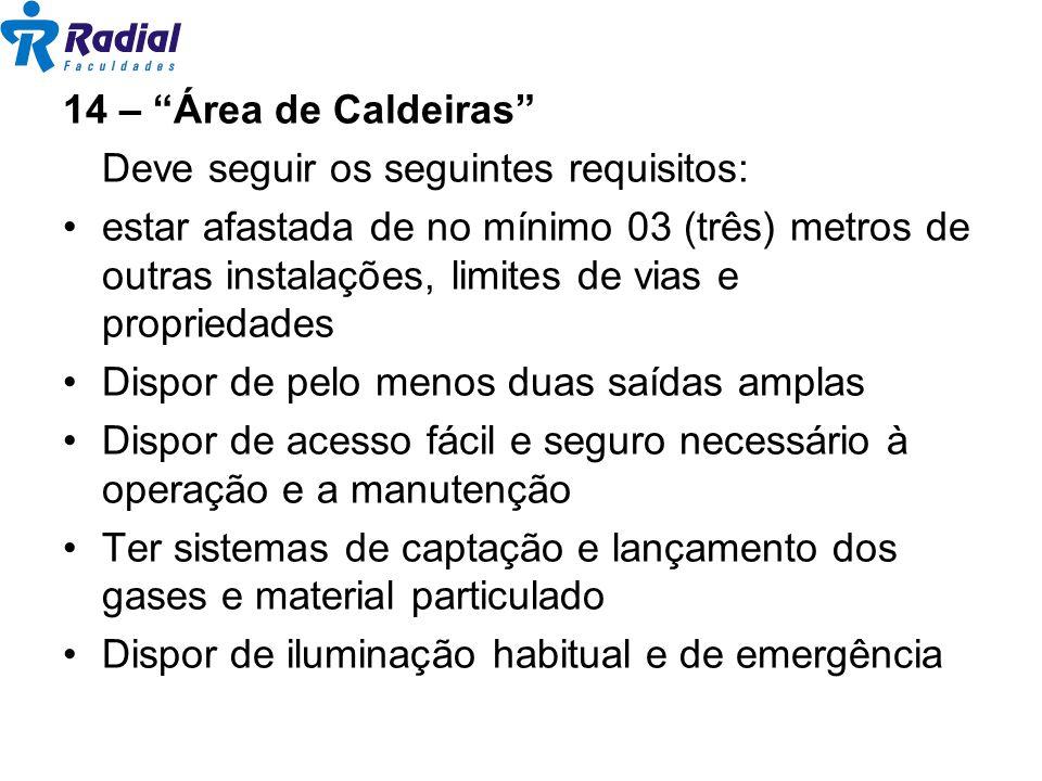 14 – Área de Caldeiras Deve seguir os seguintes requisitos: