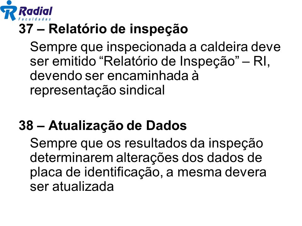37 – Relatório de inspeção
