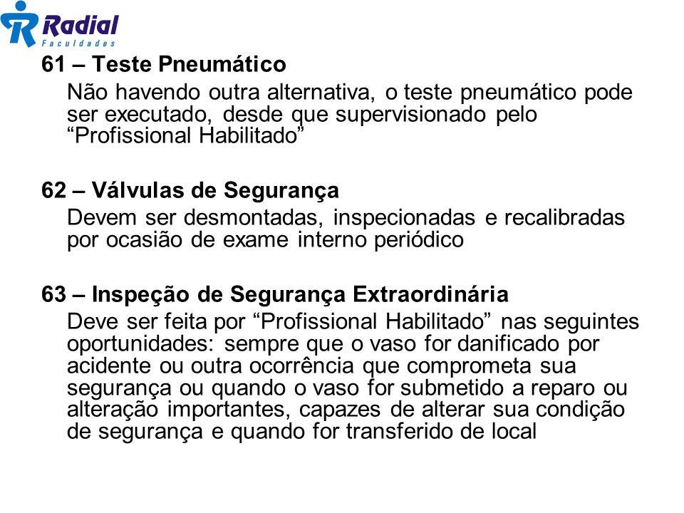 61 – Teste Pneumático Não havendo outra alternativa, o teste pneumático pode ser executado, desde que supervisionado pelo Profissional Habilitado