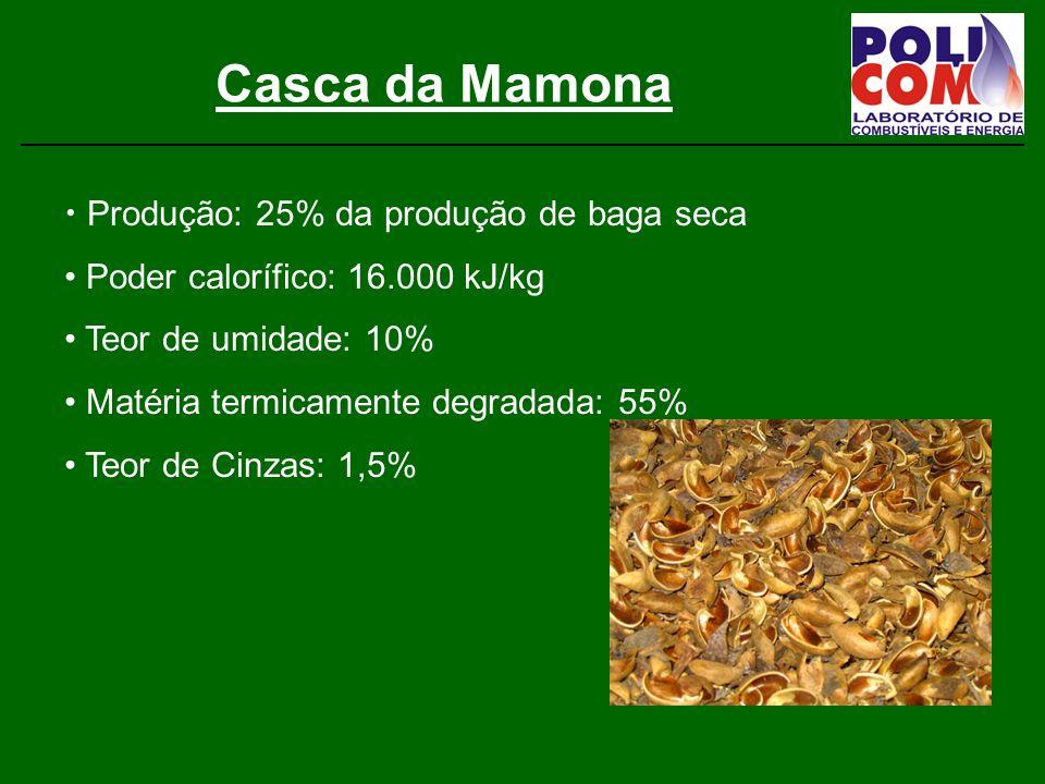 Casca da Mamona Produção: 25% da produção de baga seca