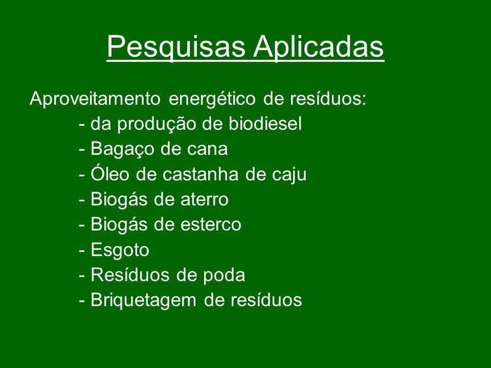 Pesquisas Aplicadas Aproveitamento energético de resíduos:
