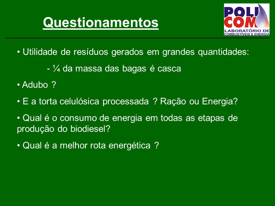 Questionamentos Utilidade de resíduos gerados em grandes quantidades: