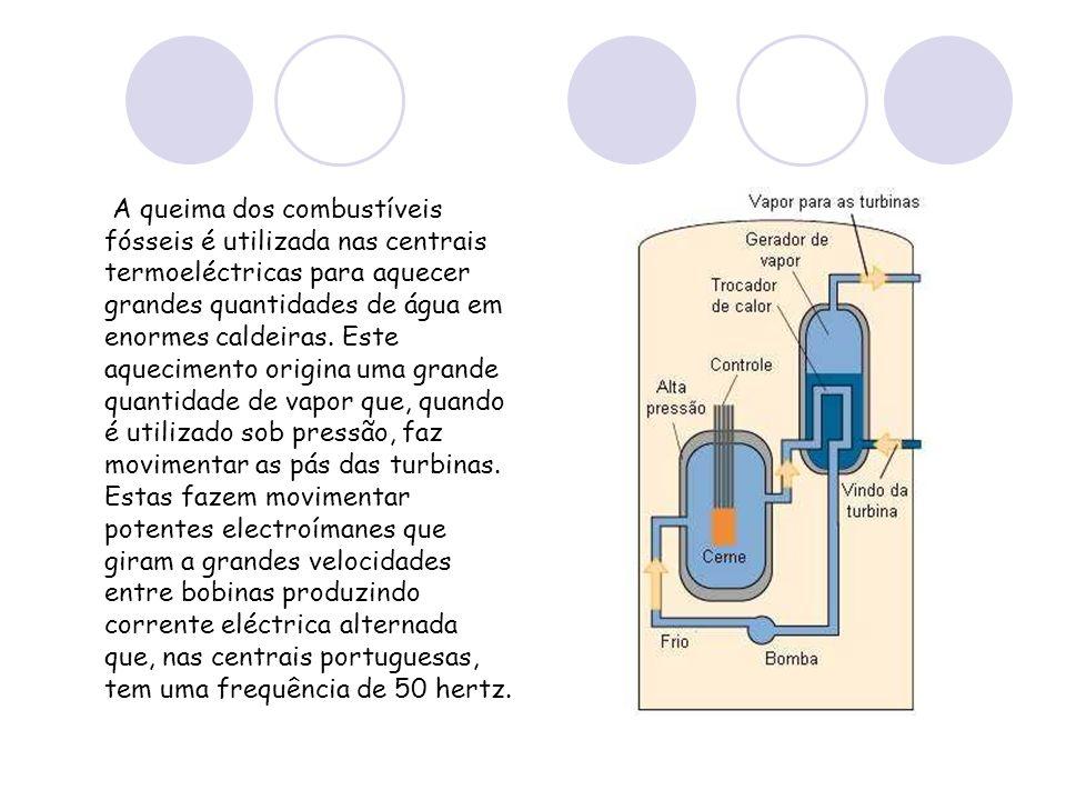 A queima dos combustíveis fósseis é utilizada nas centrais termoeléctricas para aquecer grandes quantidades de água em enormes caldeiras. Este aquecimento origina uma grande quantidade de vapor que, quando é utilizado sob pressão, faz movimentar as pás das turbinas. Estas fazem movimentar potentes electroímanes que giram a grandes velocidades entre bobinas produzindo corrente eléctrica alternada que, nas centrais portuguesas, tem uma frequência de 50 hertz.