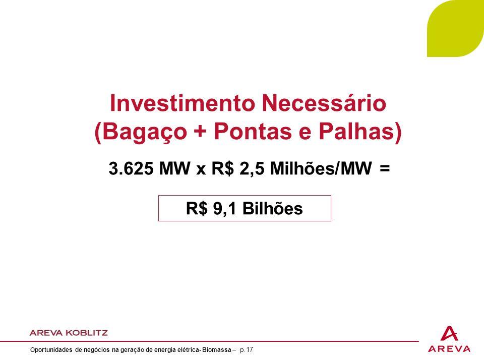 Investimento Necessário (Bagaço + Pontas e Palhas)