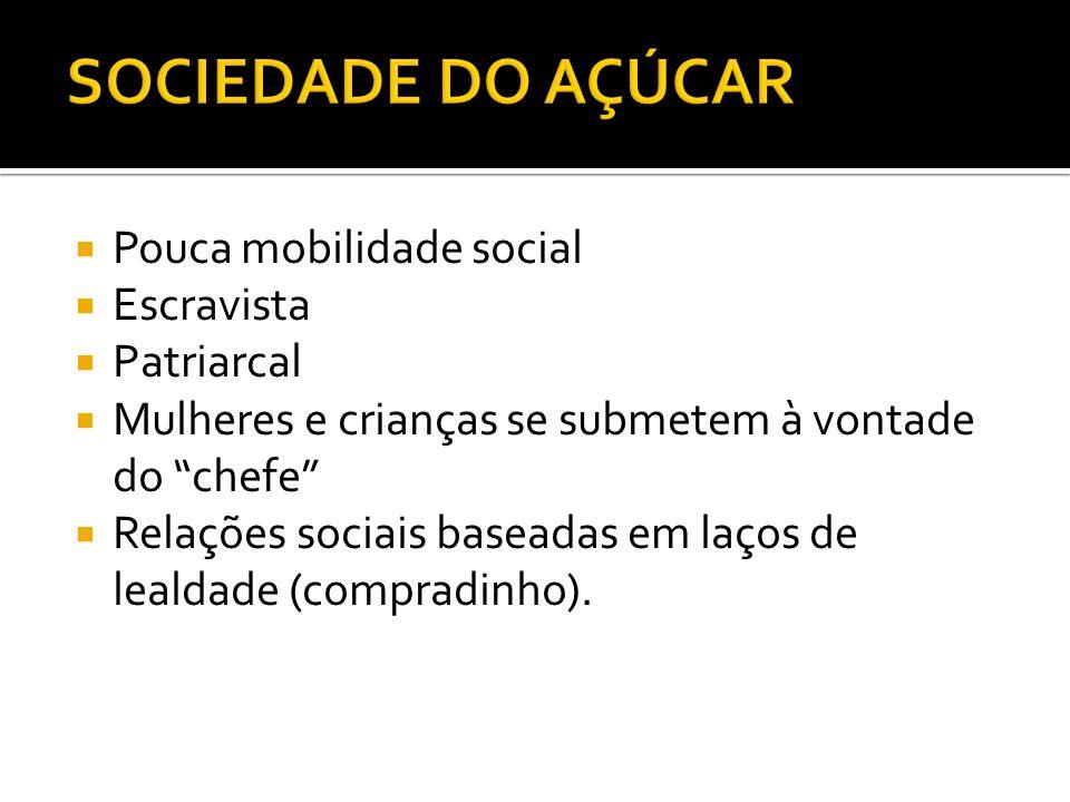 SOCIEDADE DO AÇÚCAR Pouca mobilidade social Escravista Patriarcal