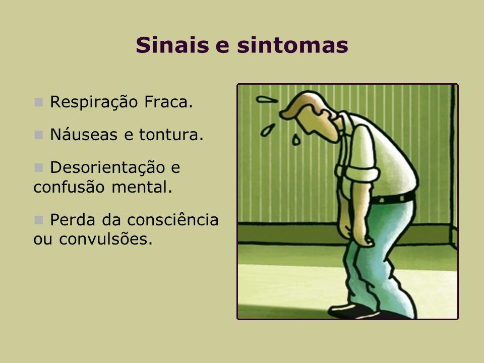 Sinais e sintomas Respiração Fraca. Náuseas e tontura.
