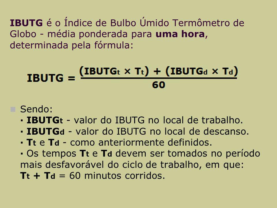 IBUTG é o Índice de Bulbo Úmido Termômetro de Globo - média ponderada para uma hora, determinada pela fórmula: