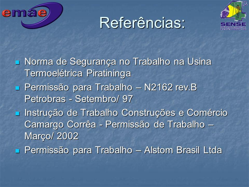 Referências: Norma de Segurança no Trabalho na Usina Termoelétrica Piratininga. Permissão para Trabalho – N2162 rev.B Petrobras - Setembro/ 97.