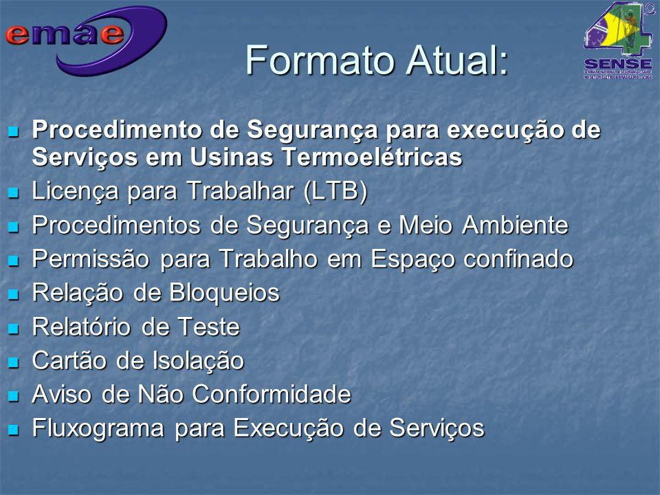 Formato Atual: Procedimento de Segurança para execução de Serviços em Usinas Termoelétricas. Licença para Trabalhar (LTB)