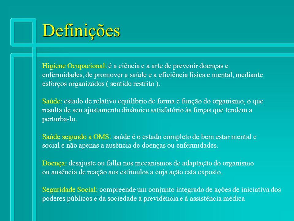 Definições Higiene Ocupacional: é a ciência e a arte de prevenir doenças e.