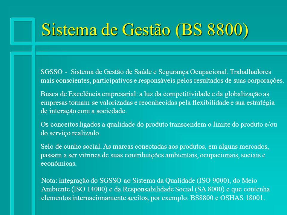 Sistema de Gestão (BS 8800) SGSSO - Sistema de Gestão de Saúde e Segurança Ocupacional. Trabalhadores.