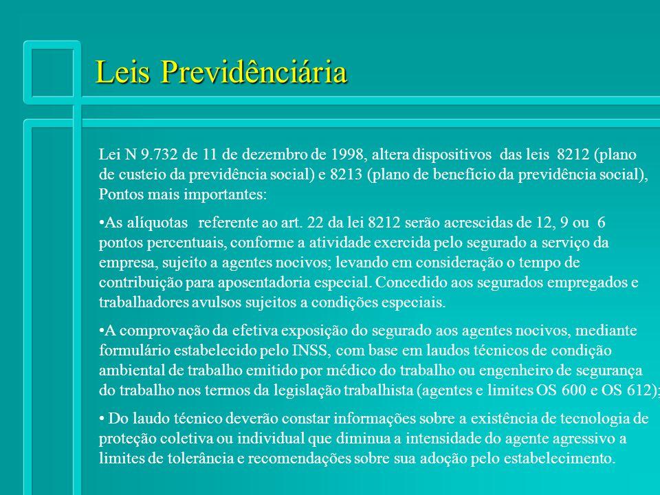 Leis Previdênciária Lei N 9.732 de 11 de dezembro de 1998, altera dispositivos das leis 8212 (plano.