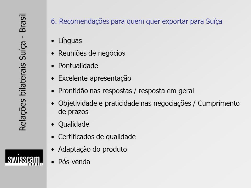 6. Recomendações para quem quer exportar para Suíça