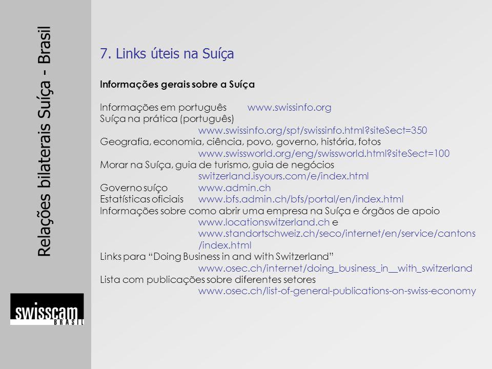 7. Links úteis na Suíça Informações gerais sobre a Suíça