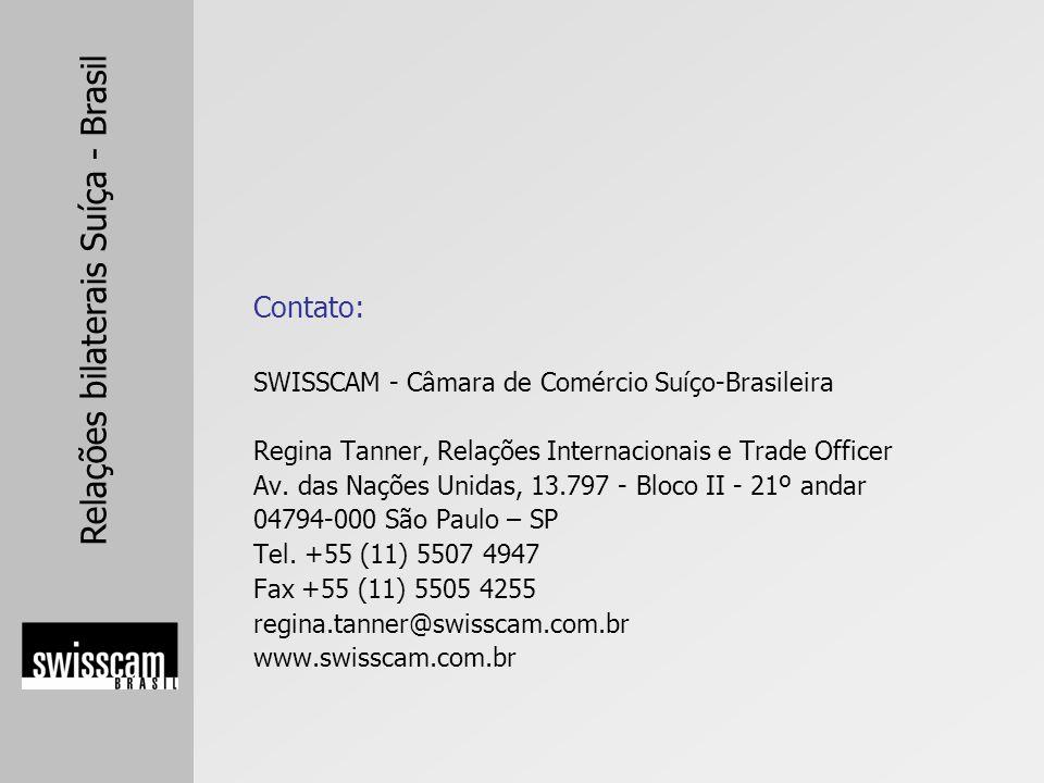 Contato: SWISSCAM - Câmara de Comércio Suíço-Brasileira