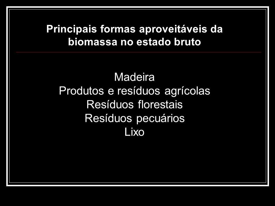 Produtos e resíduos agrícolas Resíduos florestais Resíduos pecuários