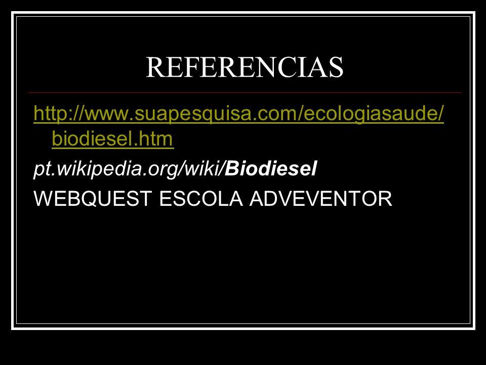 REFERENCIAS http://www.suapesquisa.com/ecologiasaude/biodiesel.htm
