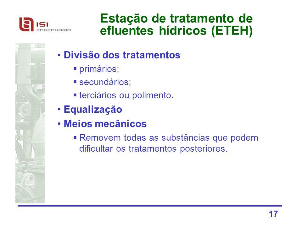 Estação de tratamento de efluentes hídricos (ETEH)