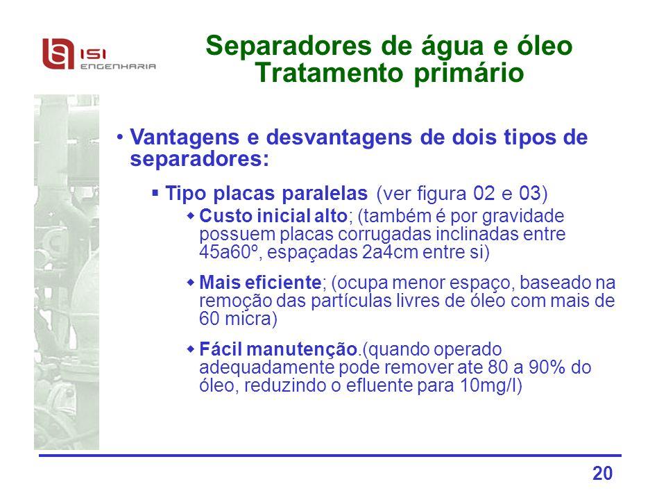 Separadores de água e óleo Tratamento primário