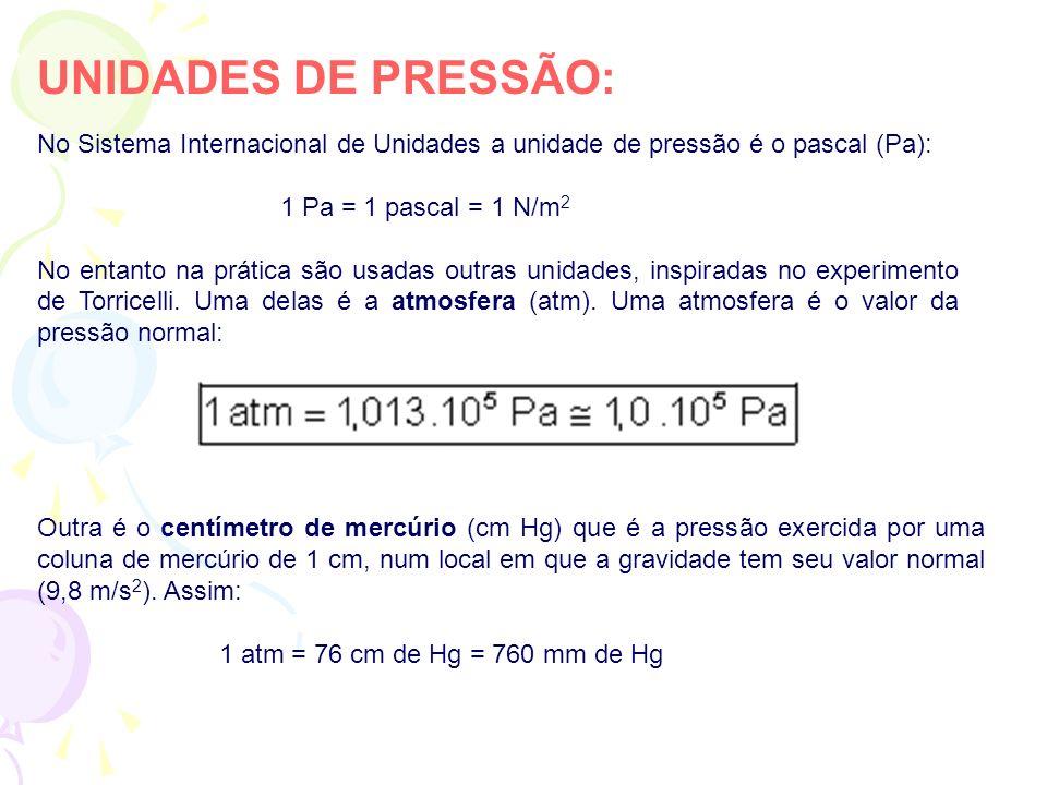 UNIDADES DE PRESSÃO: No Sistema Internacional de Unidades a unidade de pressão é o pascal (Pa): 1 Pa = 1 pascal = 1 N/m2.