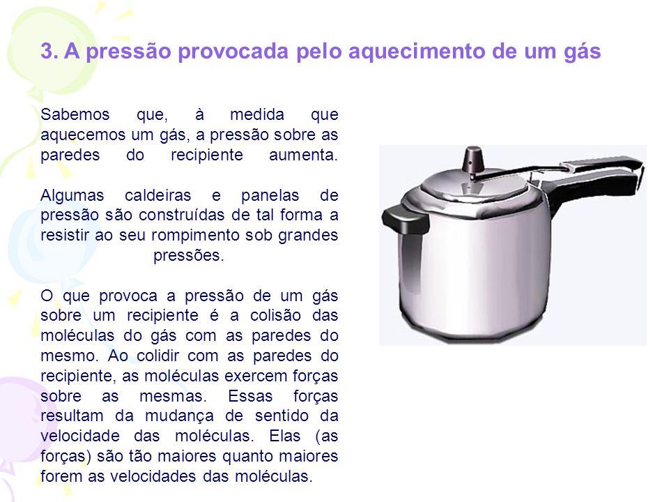 3. A pressão provocada pelo aquecimento de um gás