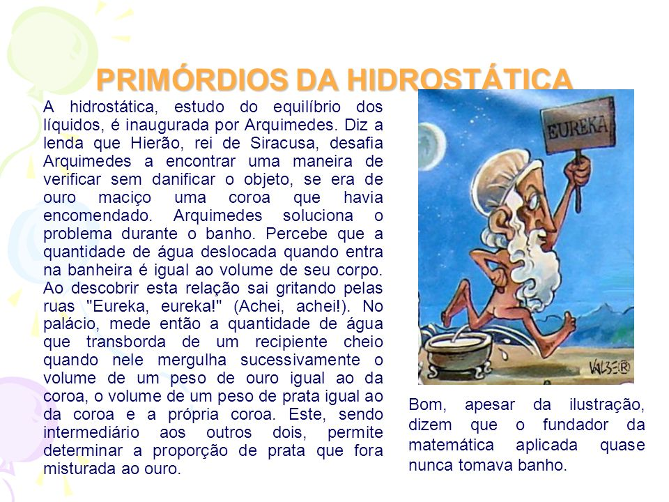PRIMÓRDIOS DA HIDROSTÁTICA