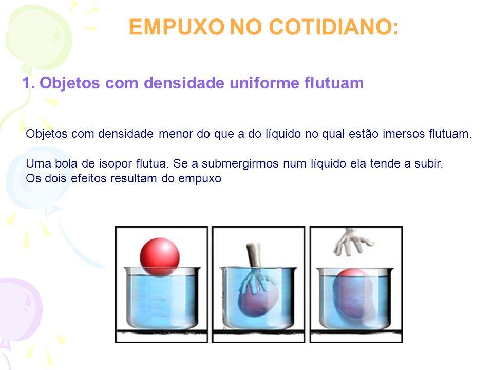 EMPUXO NO COTIDIANO: 1. Objetos com densidade uniforme flutuam
