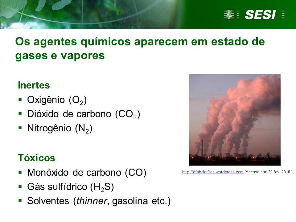 Os agentes químicos aparecem em estado de gases e vapores