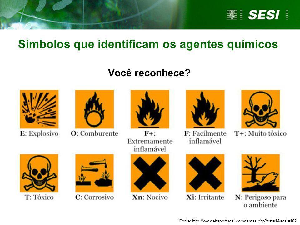 Símbolos que identificam os agentes químicos Você reconhece