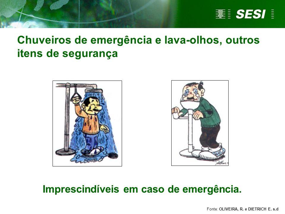 Chuveiros de emergência e lava-olhos, outros itens de segurança
