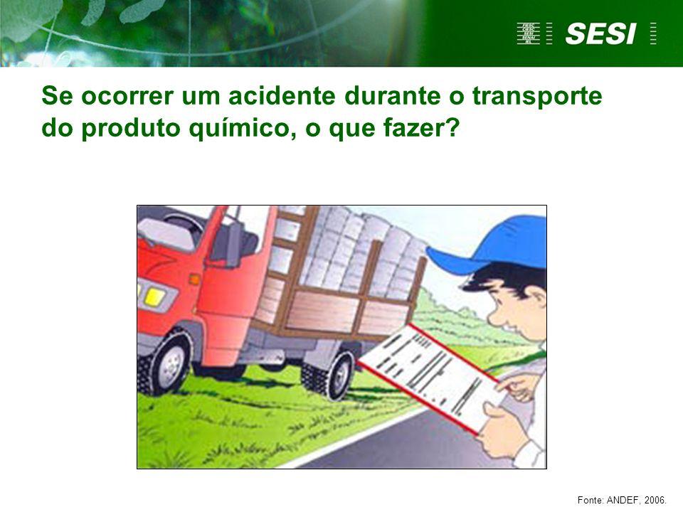 Se ocorrer um acidente durante o transporte do produto químico, o que fazer