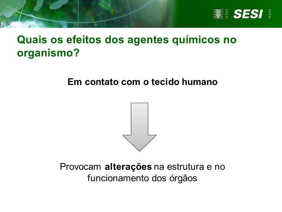 Quais os efeitos dos agentes químicos no organismo