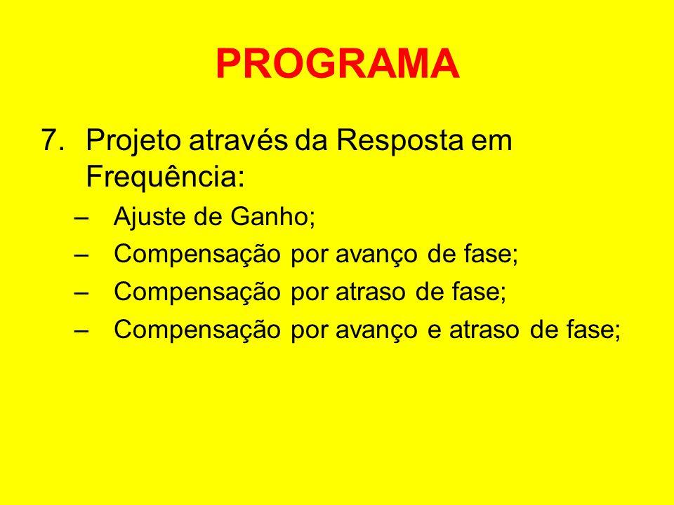 PROGRAMA Projeto através da Resposta em Frequência: Ajuste de Ganho;