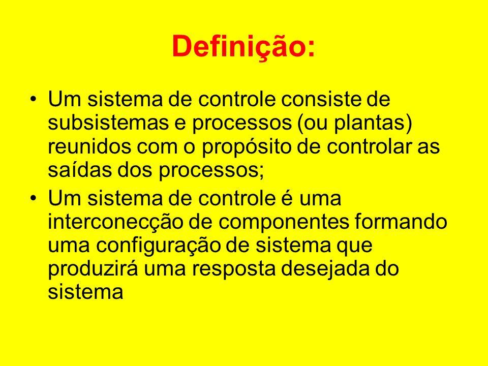 Definição: Um sistema de controle consiste de subsistemas e processos (ou plantas) reunidos com o propósito de controlar as saídas dos processos;