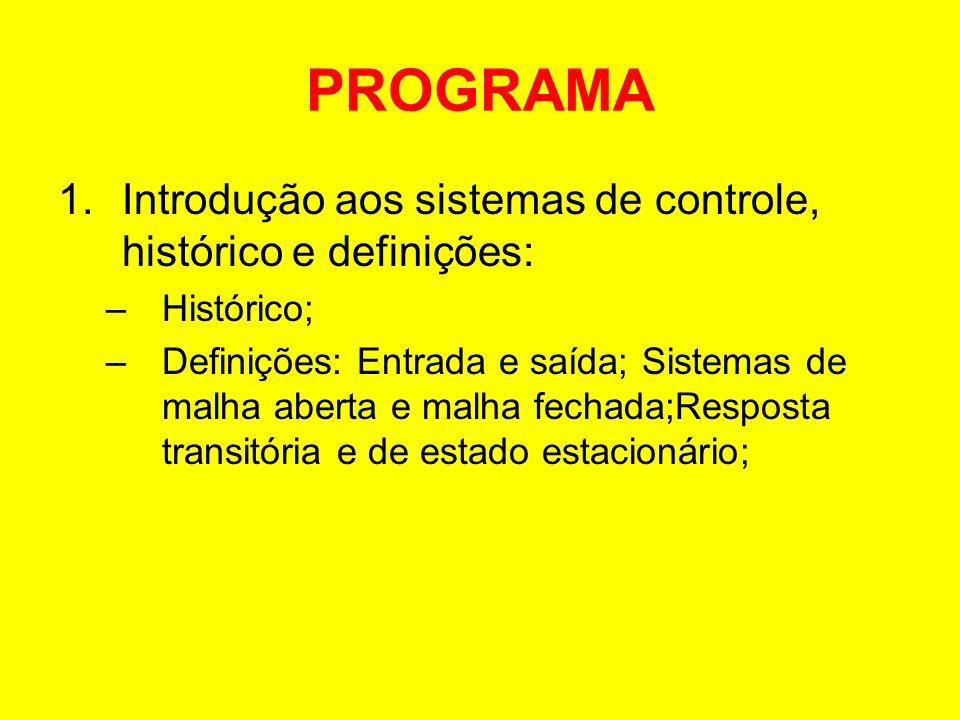 PROGRAMA Introdução aos sistemas de controle, histórico e definições: