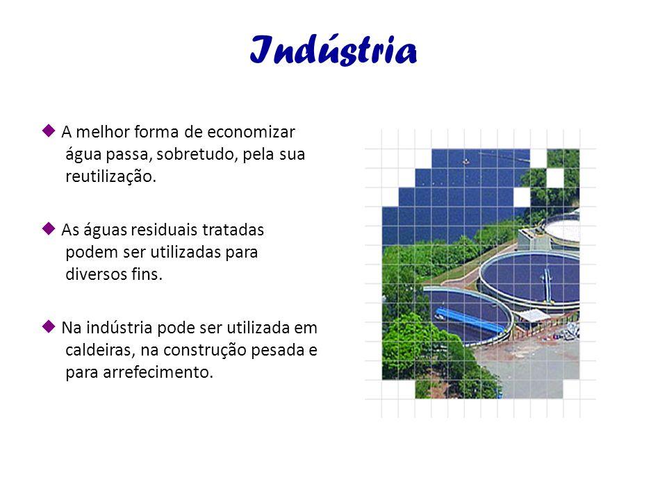 Indústria  A melhor forma de economizar água passa, sobretudo, pela sua reutilização.