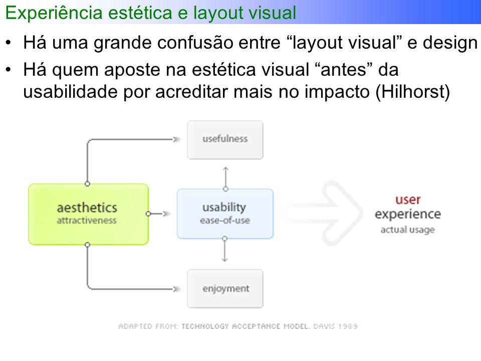 Experiência estética e layout visual