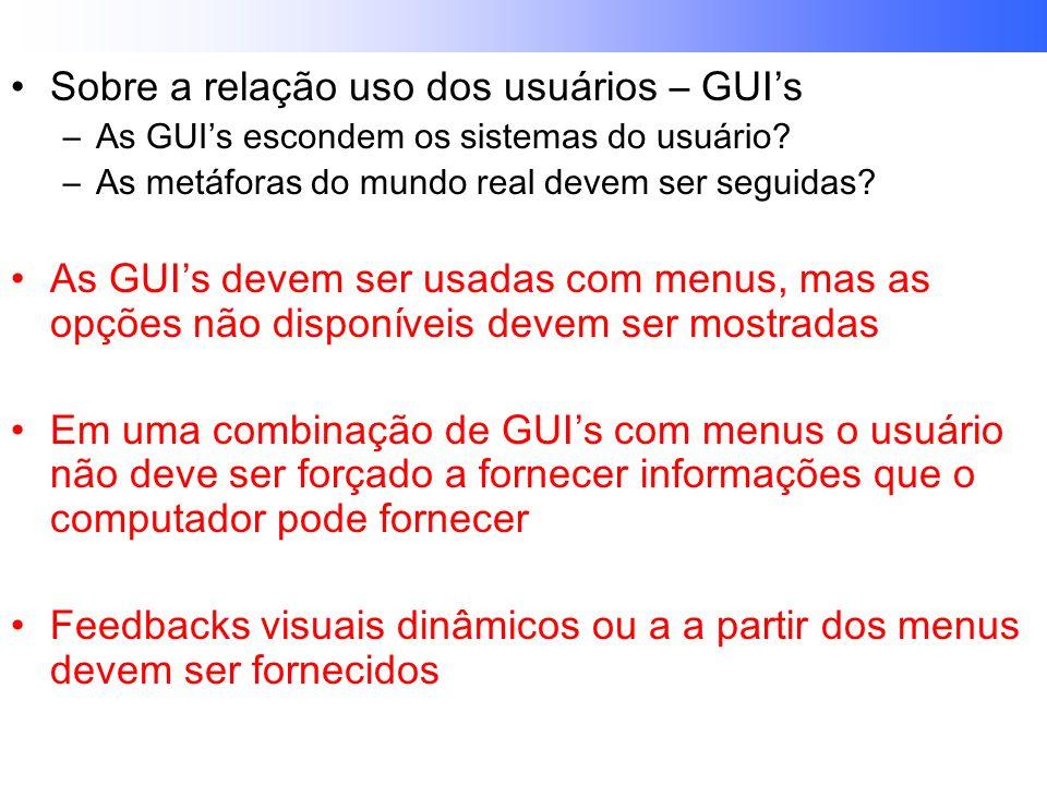 Sobre a relação uso dos usuários – GUI's
