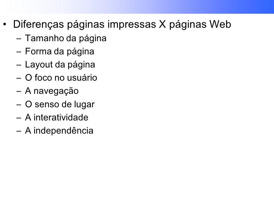 Diferenças páginas impressas X páginas Web