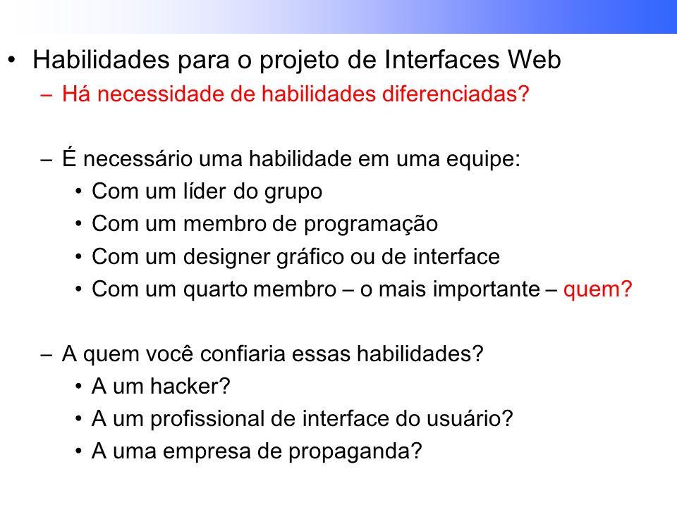 Habilidades para o projeto de Interfaces Web