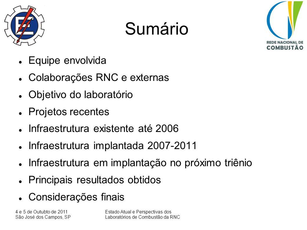 Sumário Equipe envolvida Colaborações RNC e externas