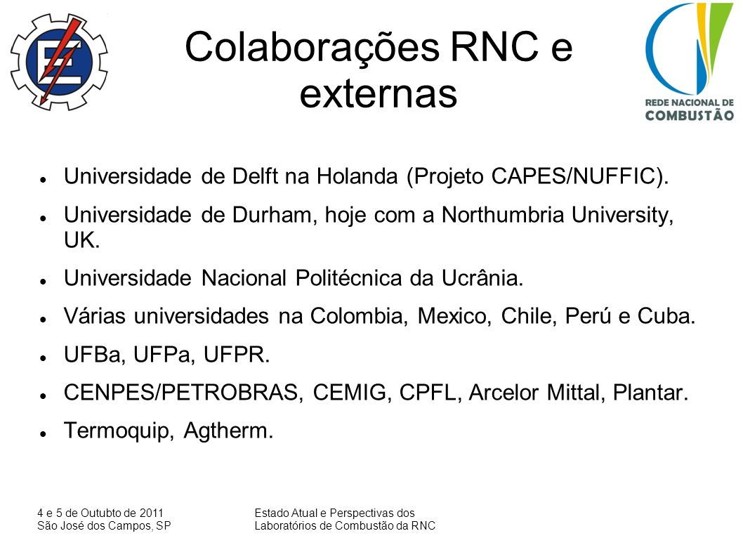 Colaborações RNC e externas