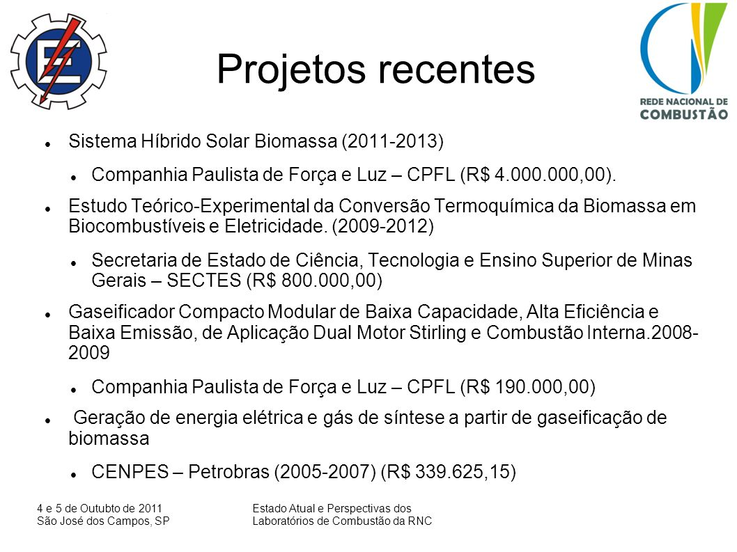 Projetos recentes Sistema Híbrido Solar Biomassa (2011-2013)