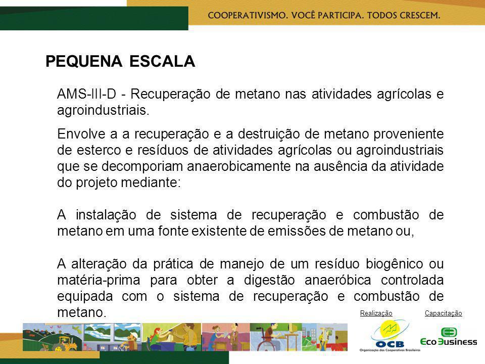 PEQUENA ESCALA AMS-III-D - Recuperação de metano nas atividades agrícolas e agroindustriais.