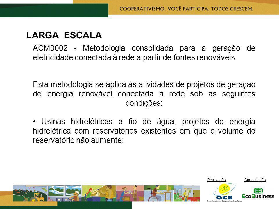 LARGA ESCALA ACM0002 - Metodologia consolidada para a geração de eletricidade conectada à rede a partir de fontes renováveis.