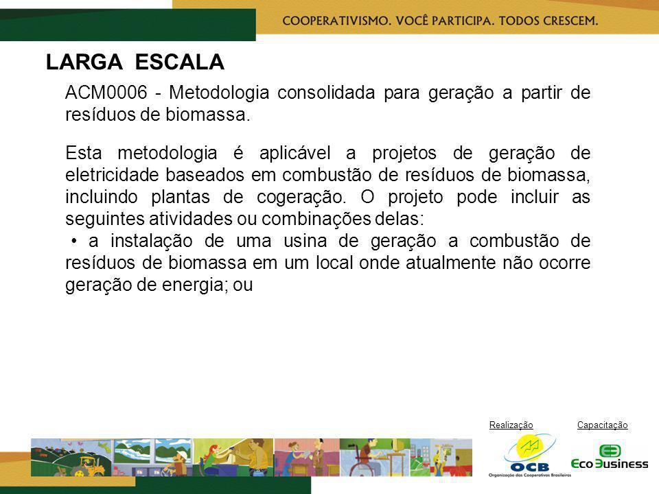 LARGA ESCALA ACM0006 - Metodologia consolidada para geração a partir de resíduos de biomassa.