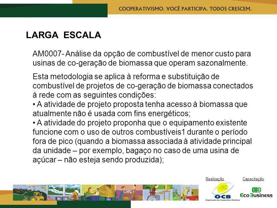 LARGA ESCALA AM0007- Análise da opção de combustível de menor custo para usinas de co-geração de biomassa que operam sazonalmente.