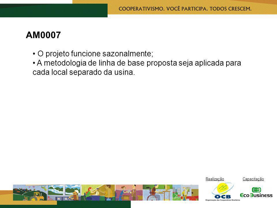 AM0007 • O projeto funcione sazonalmente; • A metodologia de linha de base proposta seja aplicada para cada local separado da usina.